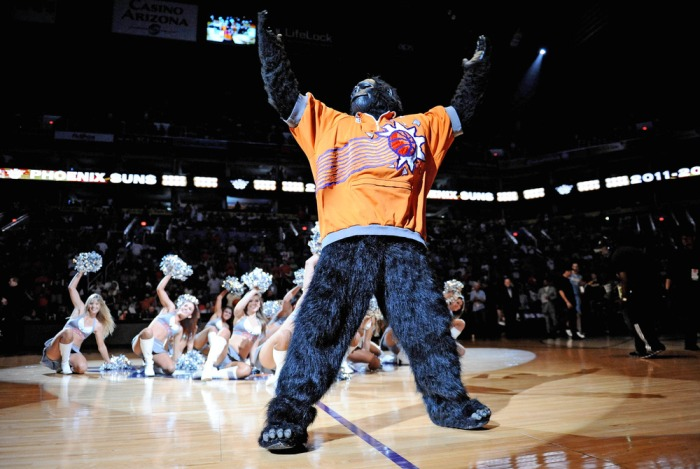 Apr. 21, 2012; Phoenix, AZ, USA; Phoenix Suns Gorilla performs prior to the game against the Denver Nuggets at the US Airways Center. The Nuggets defeated the Suns 118 - 107. Mandatory Credit: Jennifer Stewart-US PRESSWIRE.